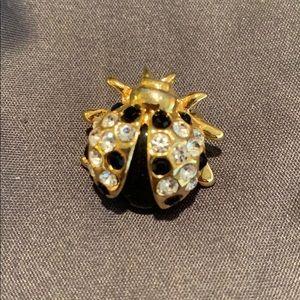 Vintage Lady bug brooch has closure on back